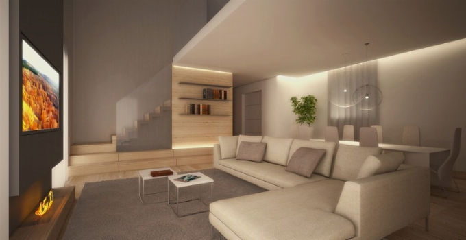 Zona living rendering realizzazione interni e design for Interni casa design