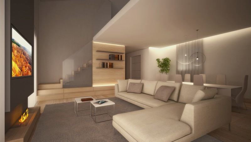 Zona living rendering realizzazione interni e design for Porte living